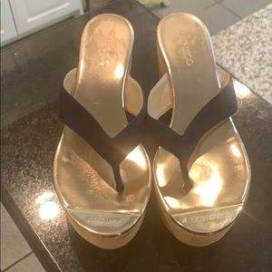 Jimmy choo wedge sandals with gold tip